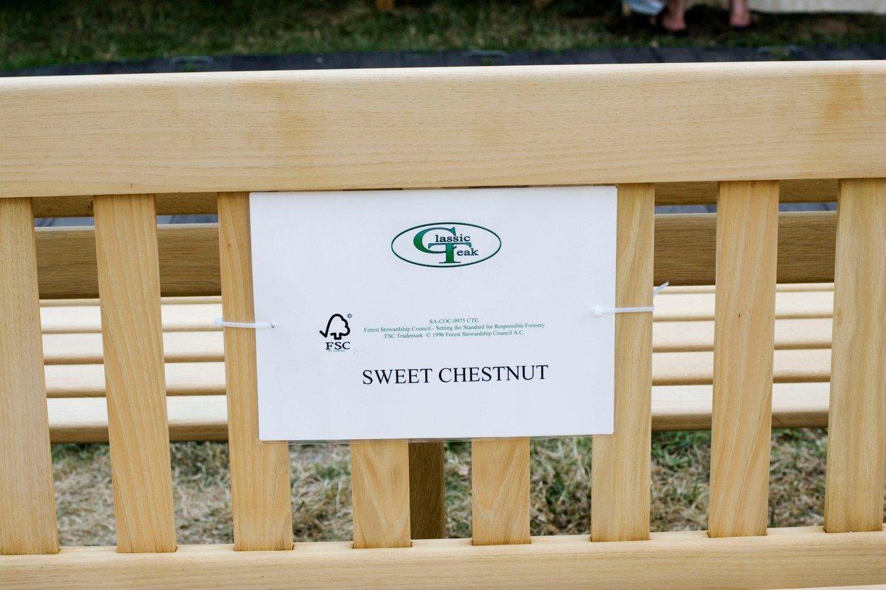Garden bench made of sweet chestnut carrying FSC trademark