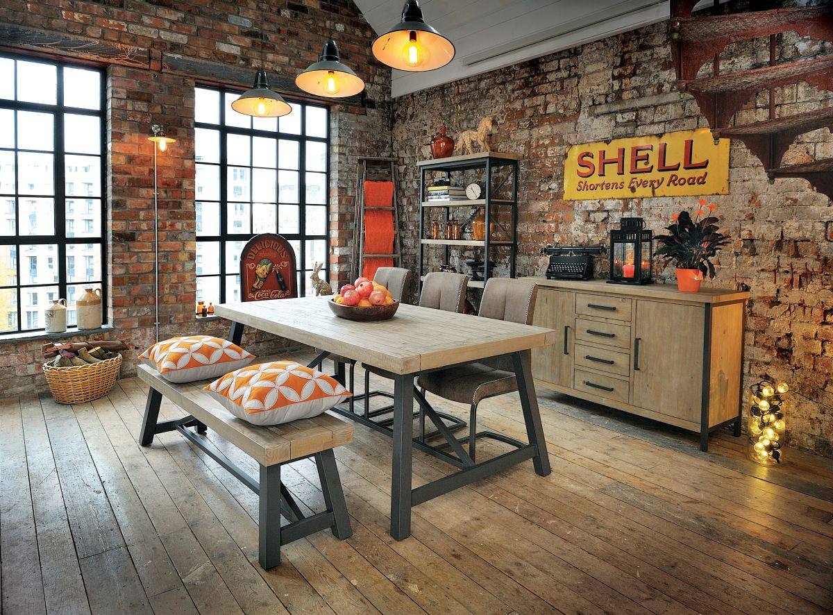 01Wooden Furniture Store_Hulstone Industrial Display Unit Large Bench Dining Table and Large Sideboard