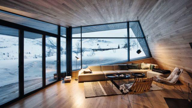 Rezidence se nevzdává bohatě prosklených ploch ani vtřeskutém mrazu asněhu